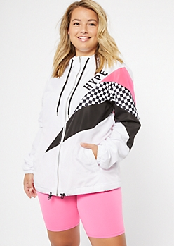 Plus White Colorblock Hype Zip Front Graphic Windbreaker