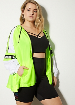 Plus Neon Yellow Hustle Striped Windbreaker