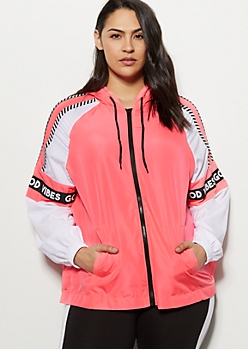 Plus Neon Pink Good Vibes Striped Windbreaker