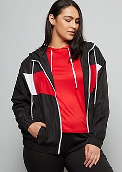 Plus Black Colorblock Zip Front Hooded Windbreaker