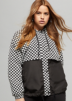 Plus Checkered Print Colorblock Zip Front Windbreaker
