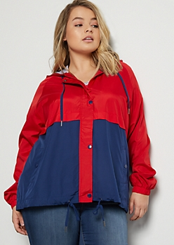 Plus Red Colorblock Jersey Lined Windbreaker