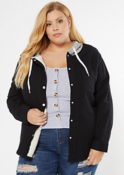 Plus Black Sherpa Lined Hooded Jacket