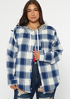 Plus Blue Plaid Print Sherpa Lined Hooded Jacket