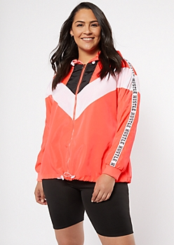 Plus Neon Coral Chevron Colorblock Hustle Windbreaker