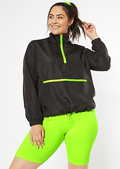 Plus Neon Green Drawstring Hem Windbreaker