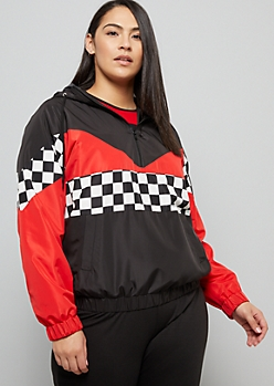 Plus Red Colorblock Checkered Print Half Zip Windbreaker