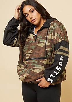 Plus Camo Hustle Pullover Windbreaker