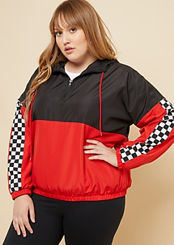 Plus Red Checkered Sleeve Colorblock Windbreaker