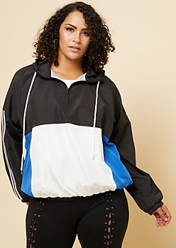 Plus Black Colorblock Athletic Tape Stripe Pullover Windbreaker