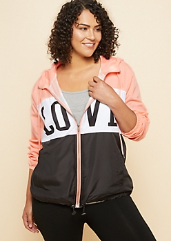 Plus Coral Love Colorblock Windbreaker