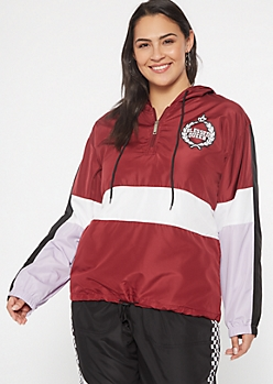 Plus Burgundy Colorblock Graphic Windbreaker