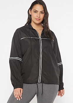 Plus Black Reflective Full Zip Windbreaker