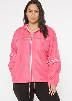 Plus Neon Fuchsia Reflective Full Zip Windbreaker