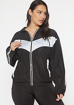 Plus Black Chevron Reflective Full Zip Windbreaker