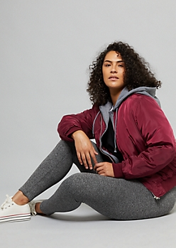 Plus Burgundy Hooded Puffer Bomber Jacket