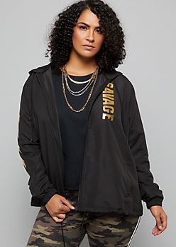 Plus Black Gold Foil Savage Zip Front Windbreaker