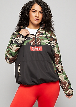 Plus Camo Colorblock Sassy Pullover Windbreaker