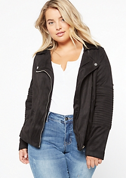 Plus Black Faux Suede Moto Jacket