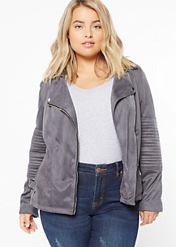 Plus Charcoal Gray Faux Suede Moto Jacket