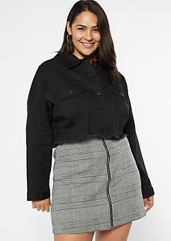 Plus Black Cropped Twill Jacket