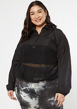 Plus Black Mesh Half Zip Windbreaker