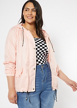 Plus Pink Hooded Drawstring Windbreaker