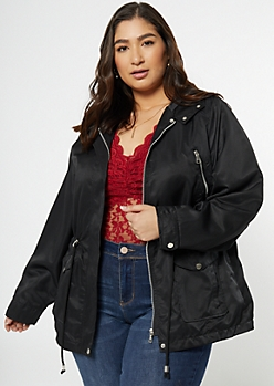 Plus Black Nylon Quilted Anorak