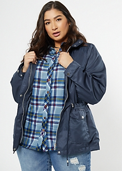 Plus Navy Nylon Quilted Anorak
