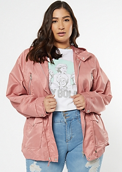 Plus Pink Nylon Quilted Anorak