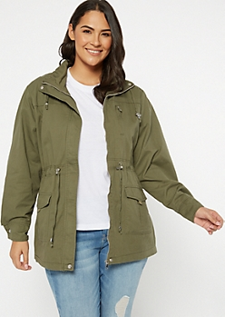 Plus Olive Cinched Zip Front Anorak Jacket