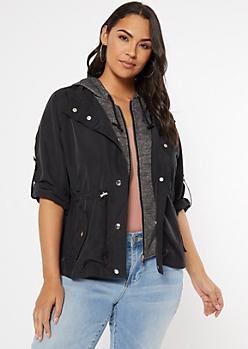 Plus Black Hooded Anorak Jacket