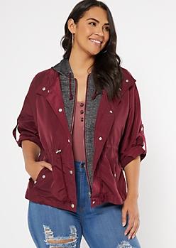 Plus Burgundy Hooded Anorak Jacket