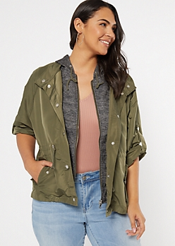 Plus Olive Hooded Anorak Jacket