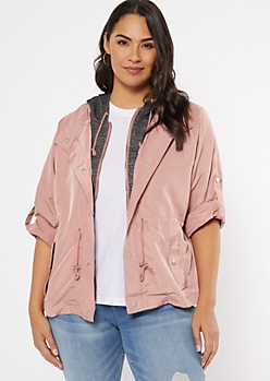 Plus Pink Hooded Anorak Jacket