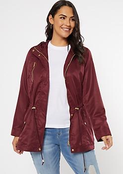Plus Burgundy Slick Hooded Anorak Jacket