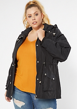 Plus Black Nylon Anorak Jacket