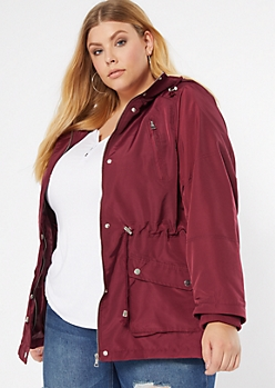 Plus Burgundy Nylon Anorak Jacket