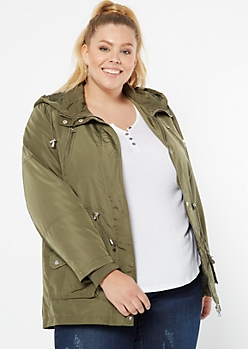 Plus Olive Nylon Anorak Jacket