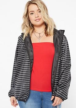 Plus Black Striped Zip Front Windbreaker