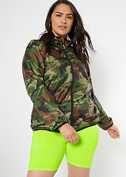 Plus Camo Print Zip Front Windbreaker