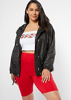 Plus Black Drawstring Waist Windbreaker