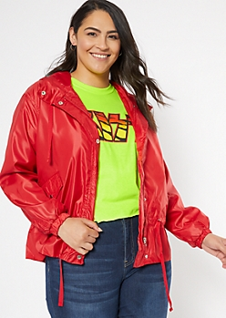 Plus Red Drawstring Waist Windbreaker