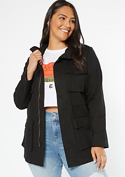 Plus Black Twill Cargo Pocket Anorak Jacket