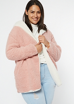 Plus Pink Reversible Sherpa Jacket