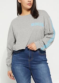 Plus Gray Reckless Varsity Long Sleeve Crop Top