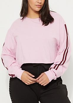 Plus Pink Varsity Long Sleeve Crop Top