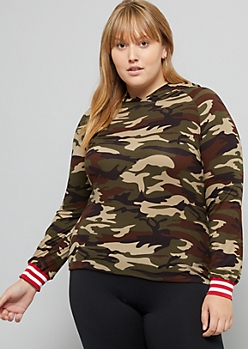 Plus Camo Print Striped Cuff Skimmer Hoodie