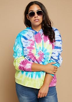 Plus Neon Tie Dye Fleece Lined Pullover Hoodie