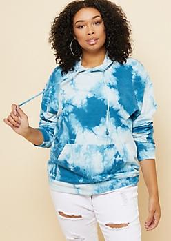 Plus Blue Watercolor Tie Dye Oversized Hoodie